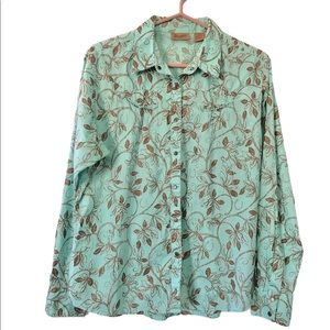 Wrangler Cowgirl Snap Button Teal & Brown Shirt